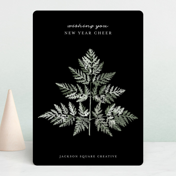"""Delicate Fern"" - Business Holiday Cards in Snow by Nicolette Myslinski."