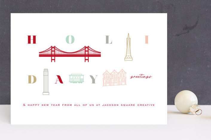 """""""Holiday Greetings from San Francisco"""" - Modern Business Holiday Cards in Pastels by fatfatin."""