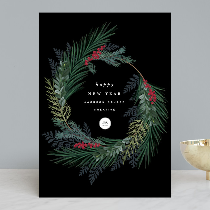 """""""Chic Wreath"""" - Business Holiday Cards in Midnight by Hooray Creative."""