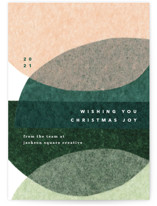 This is a green business holiday card by Carrie Moradi called papery joy with standard printing on signature in standard.