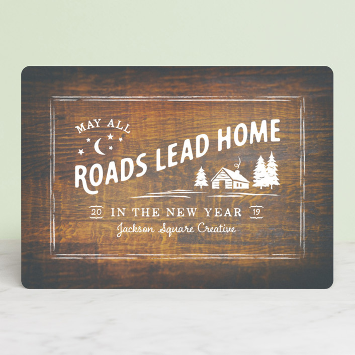 """""""All Roads Lead Home"""" - Vintage Business Holiday Cards in Red Light by Ann Gardner."""