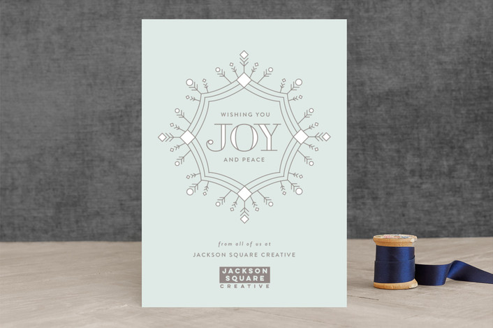 """Wishing Joy"" - Business Holiday Cards in Powder by Sarah Guse Brown."