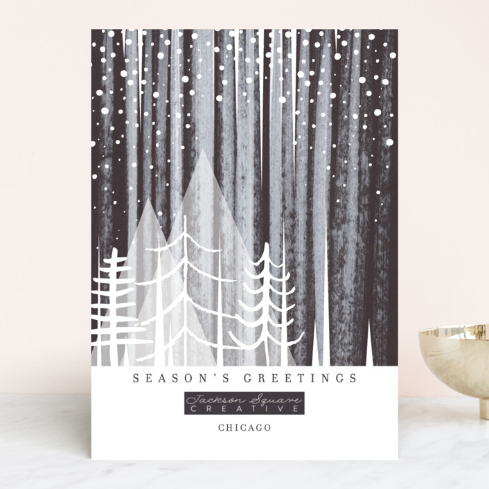 """Snowfall"" - Bohemian Business Holiday Cards in Eclipse by Baumbirdy."