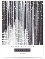 This is a black business holiday card by Baumbirdy called Snowfall with standard printing on smooth signature in standard.