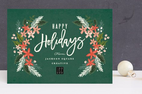 floral garland Business Holiday Cards