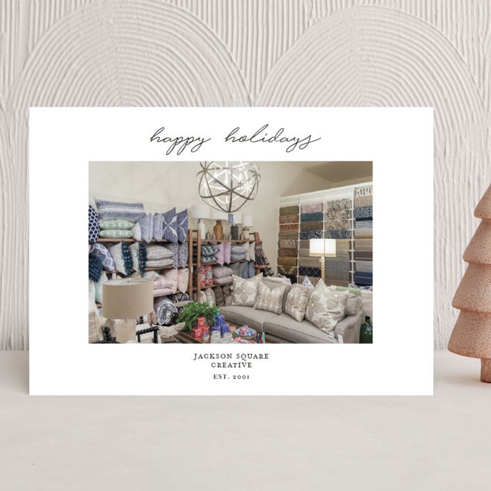 """""""Simple Script"""" - Business Holiday Cards in Snow by Nicoletta Savod."""