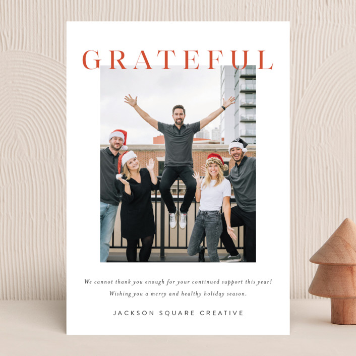 """Bold Gratitude"" - Business Holiday Cards in Holly by Kasia Labocki."