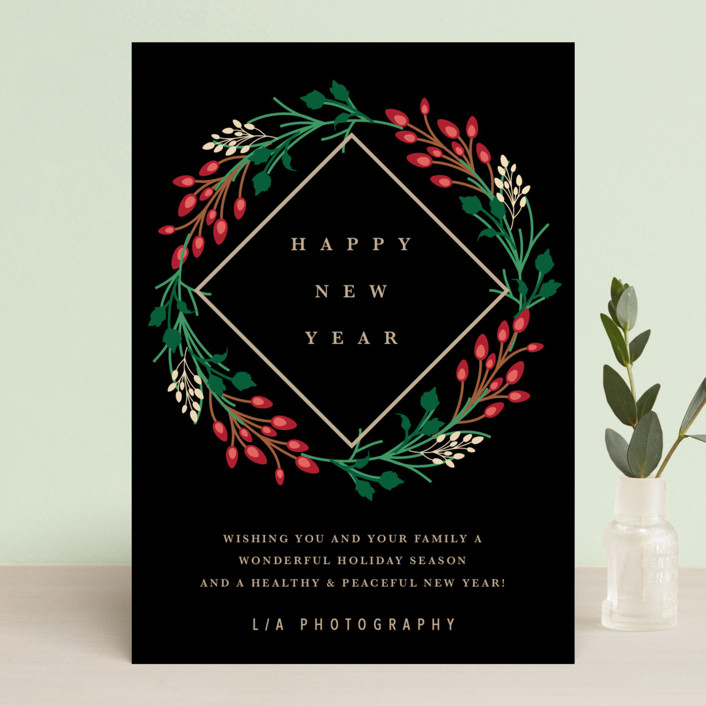 """""""New Year Wreath"""" - Business Holiday Cards in Charcoal by Stellax Creative."""