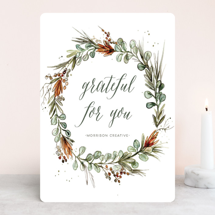 """""""Eucalyptus Wreath"""" - Business Holiday Cards in Wreath by Lulaloo."""