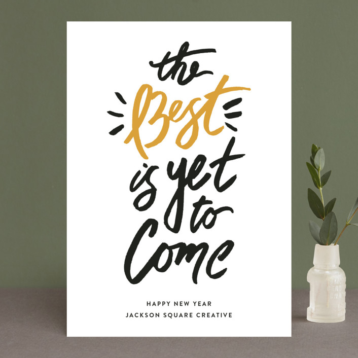 """""""Best of the Best"""" - Business Holiday Cards in Butterscotch by Shiny Penny Studio."""