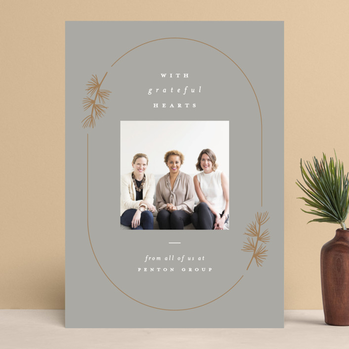 """""""Pine Corner"""" - Business Holiday Cards in Dove by Amy Kross."""
