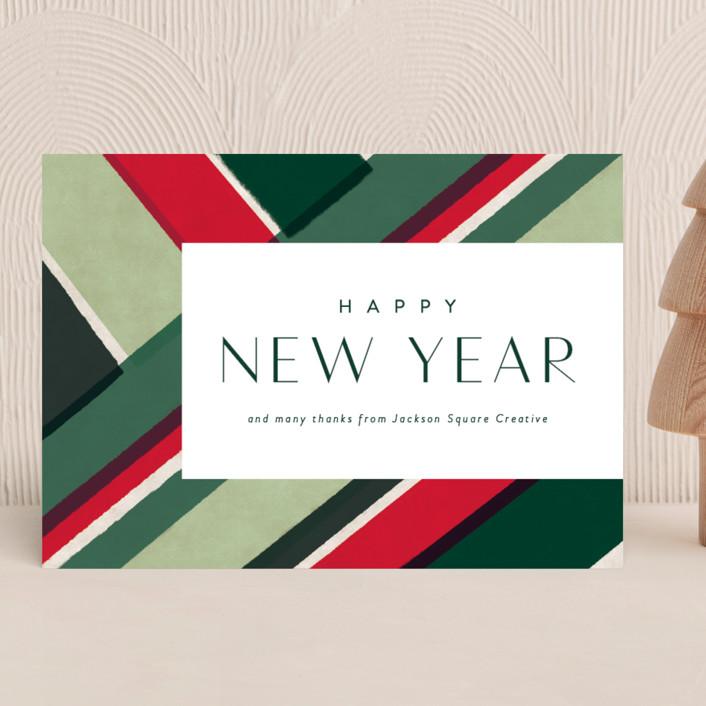"""festive diagonals"" - Modern Business Holiday Cards in Elf shoe by Rebecca Durflinger."