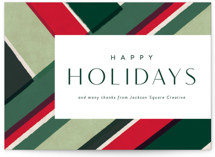 This is a green business holiday card by Rebecca Durflinger called festive diagonals with standard printing on signature in standard.