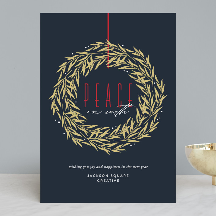"""Peace Wreath"" - Vintage Business Holiday Cards in Navy by Eric Clegg."