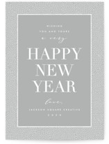 This is a grey business holiday card by AK Graphics called des points with standard printing on signature in standard.