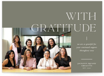 This is a green business holiday card by Blustery August called Grateful with standard printing on smooth signature in standard.
