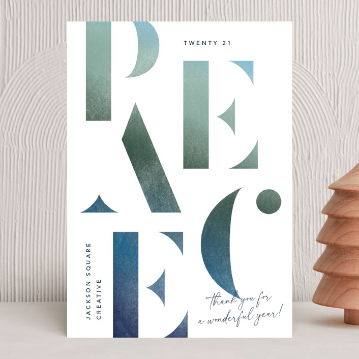 """""""Stenciled Peace"""" - Business Holiday Cards in Blue Spruce by Robert and Stella."""