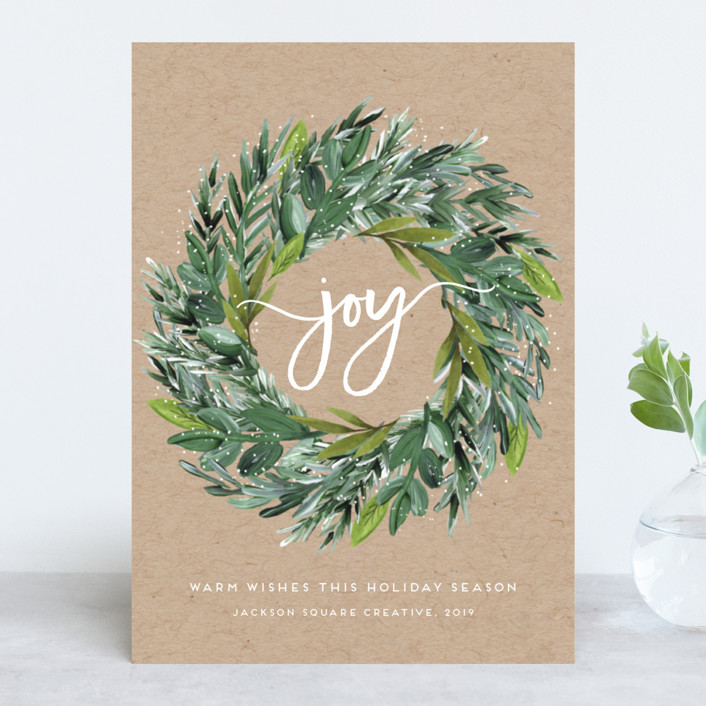 """Natural Pine Wreath"" - Business Holiday Cards in Kraft by Petra Kern."