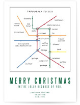 This is a green business holiday card by Deborah Chou called metro map WFH with standard printing on signature in standard.