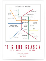 This is a red business holiday card by Deborah Chou called metro map WFH with standard printing on signature in standard.
