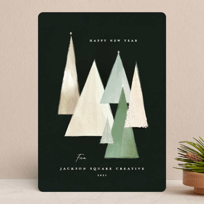 """The Pines"" - Modern Business Holiday Cards in Forest by Julie Murray."