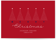 This is a red business holiday card by amanda lawrence called Christmas Trees with standard printing on signature in standard.