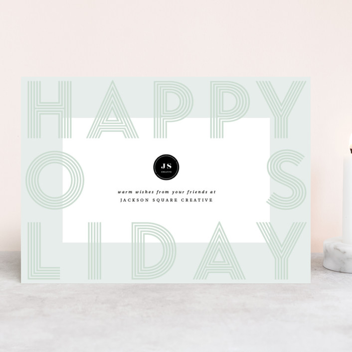 """""""Bold Frame"""" - Business Holiday Cards in Mint by Kann Orasie."""