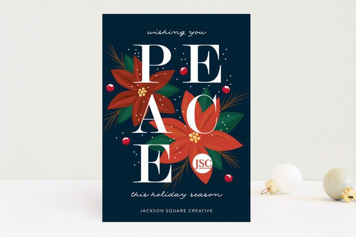 """""""Bold Peace"""" - Business Holiday Cards in Navy by Mai Jimenez."""