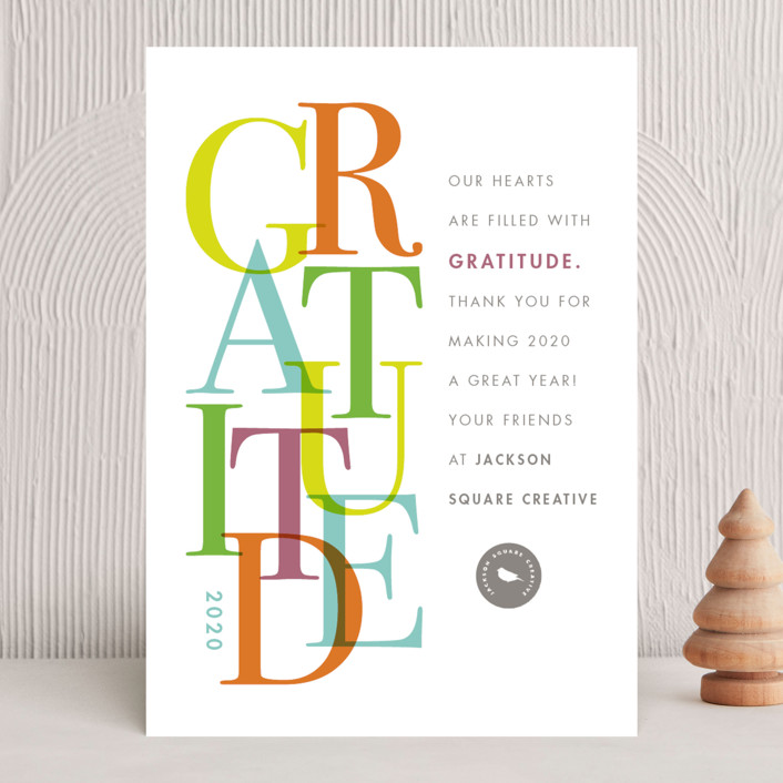 """Gratitude"" - Modern Business Holiday Cards in Tropical by Snow and Ivy."