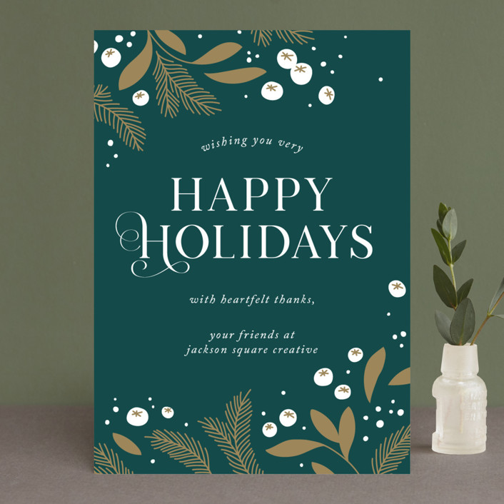 """Golden Holiday"" - Business Holiday Cards in Pine by Paper Raven Co.."