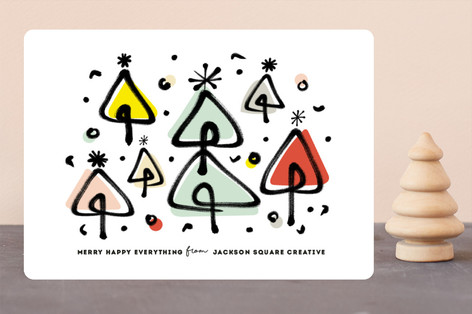 Brushed Dancing Trees Business Holiday Cards