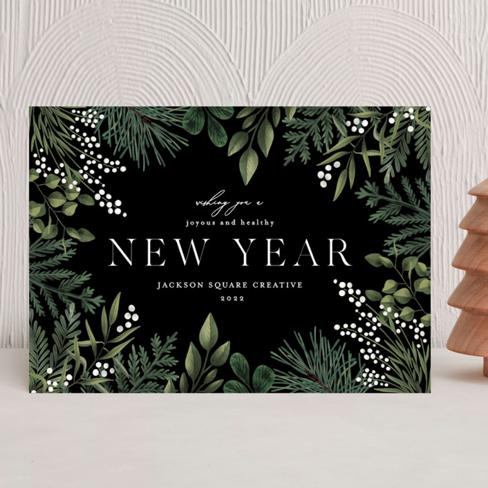 """""""Joy and Happiness"""" - Business Holiday Cards in Ebony by Chris Griffith."""