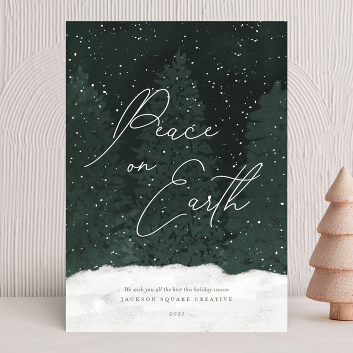 """""""Winter Wonderland"""" - Bohemian Business Holiday Cards in Evergreen by Robin Ott."""