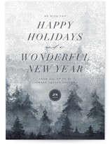 This is a blue business holiday card by Wildfield Paper Co called Misty Mountains with standard printing on signature in standard.