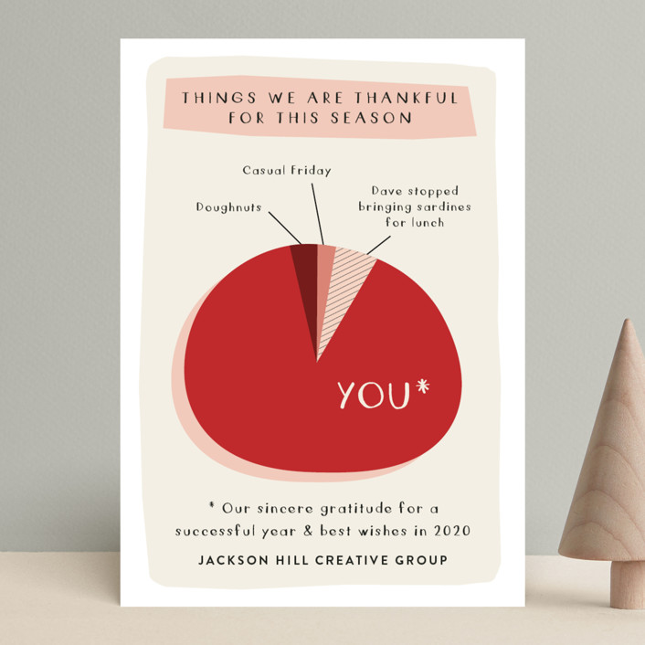 """Thankful Pie Chart"" - Funny Business Holiday Cards in Teal by J. Dario Design Co.."