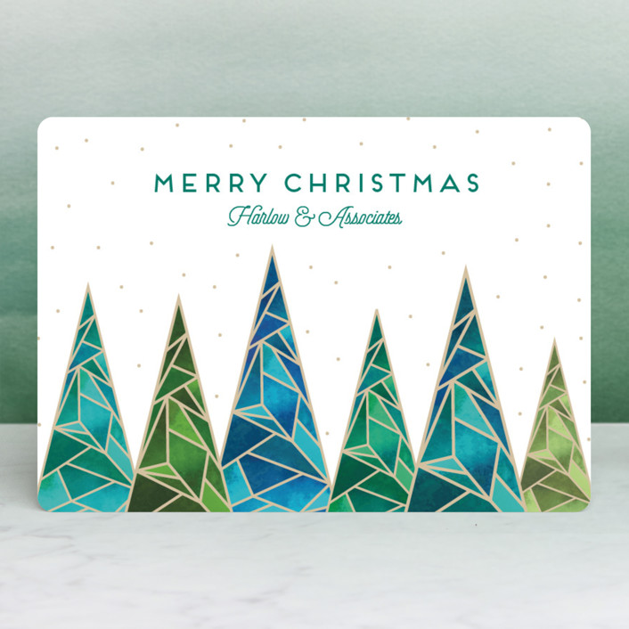 """Quartz Christmas"" - Business Holiday Cards in Emerald by Kaydi Bishop."