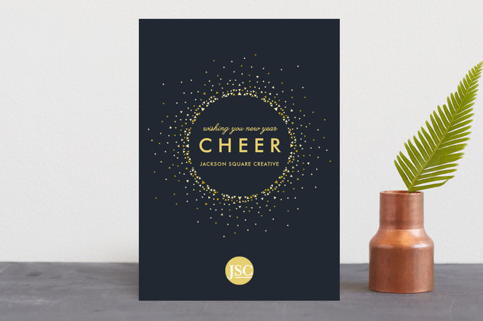 """""""Holiday Burst"""" - Business Holiday Cards in Midnight Blue by Andi Pahl."""