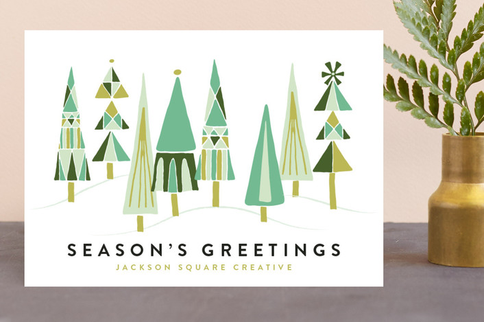 """Patterned Tree Forest"" - Vintage Business Holiday Cards in Emerald by Shiny Penny Studio."