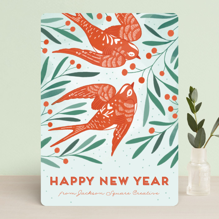 """""""Birds of Cheer"""" - Business Holiday Cards in Mint by Paper Raven Co.."""