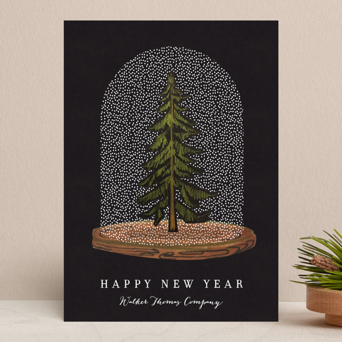 """Snow globe Tree"" - Business Holiday Cards in Coal by Baumbirdy."