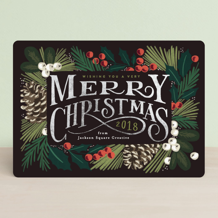 """Forest Frame"" - Vintage Business Holiday Cards in Ebony by Alethea and Ruth."