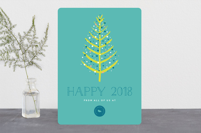 """Colorful Tree"" - Business Holiday Cards in Teal by Beth Schneider."