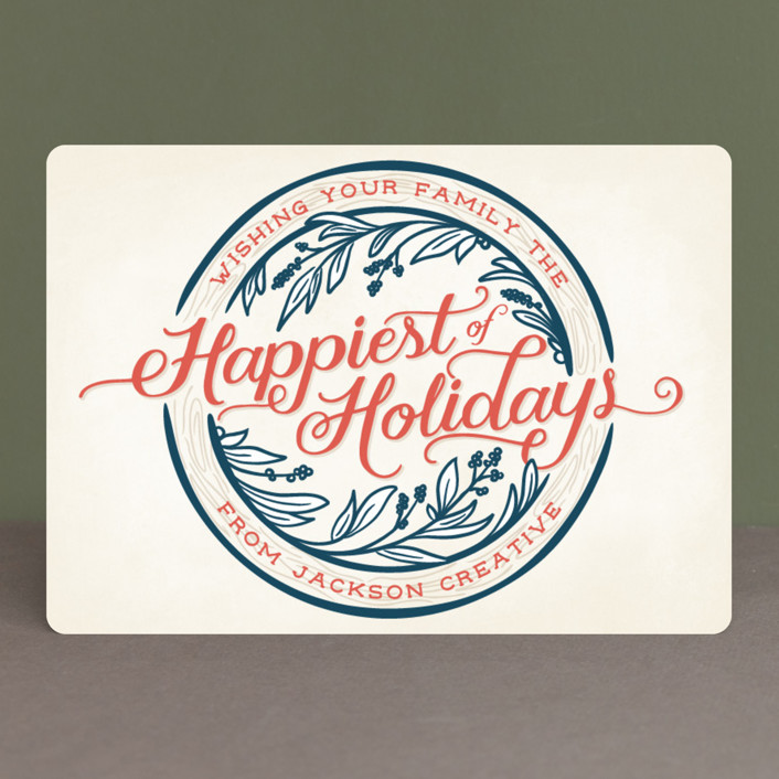 """Happiest of Holidays"" - Vintage Business Holiday Cards in Patriotic by GeekInk Design."
