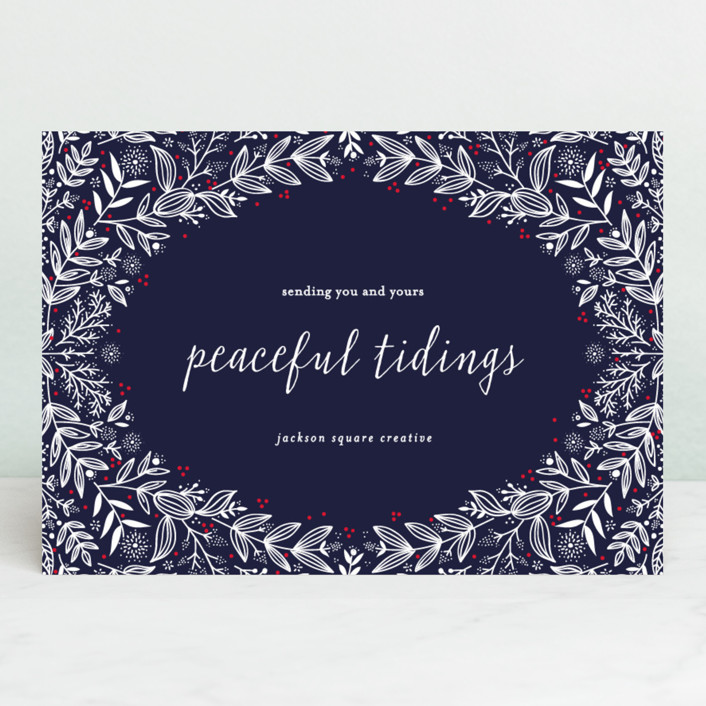 """""""peaceful wreath"""" - Business Holiday Cards in Dusk by Bethan."""