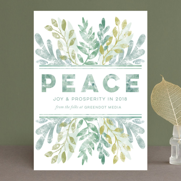 """""""blockprint banner"""" - Business Holiday Cards in Amaranth by shoshin studio."""