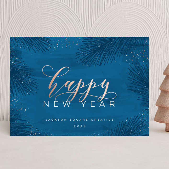 """""""Elegant Evergreen"""" - Business Holiday Cards in Blueberry by Hooray Creative."""