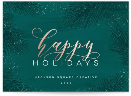 Elegant Evergreen Business Holiday Cards