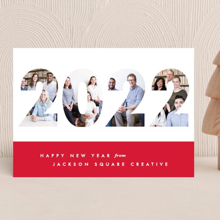 """""""Yearbook"""" - Modern Business Holiday Cards in Cherry by Gwen Bedat."""
