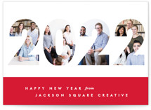 This is a red business holiday card by Gwen Bedat called Yearbook with standard printing on smooth signature in standard.