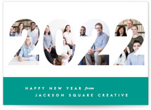 This is a green business holiday card by Gwen Bedat called Yearbook with standard printing on smooth signature in standard.